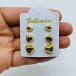 Kit De Brincos Folheados a Ouro Coração