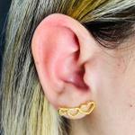 Brinco Ear Cuff Folheado a Ouro 18K Coração