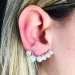 Brinco Ear Cuff Pérolas Prata