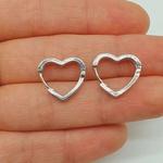 Mini Argola Zircônia Coração Prata