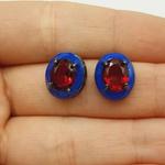 Brinco Oval Zircônia Grafite Azul e Vermelho