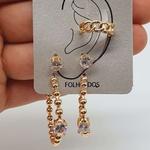 Kit De Brincos e Piercing Fake Dourado