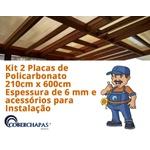 Kit 2 Chapas de Policarbonato Alveolar 2,10x6,00 6 Milímetros e Acessórios para Instalação