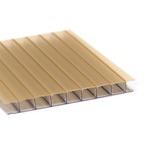 Kit 4 Chapas De Policarbonato Alveolar 1,05x6,00 6 Milímetros Ouro Bronze Refletivo + Acessórios Para Instalação
