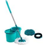 Mop Giratório 3 em 1 - Refil Microfibra + Refil Tira Pó + Refil Limpeza Pesada - Casual Home