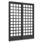 Porta De Correr Lateral 1,60m Quadriculada Vidro 2 Folhas - Ramassol