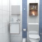 Kit Para Banheiro com Toucador, Pia e Espelheira Pérola 40Cm Branco/Tamarindo-Cozimax