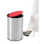 Lixeira Inox com Pedal Redonda 12 Litros com Tampa Vermelha-Ghelplus