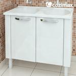 Gabinete Aço Com Tanque Apolo Flat Branco 1,00 Metro-Cozimax