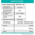 Exaustor para Banheiro Ventokit C150 D Bivolt C/Sensor