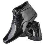 Bota social masculina CRshoes verniz preto + brinde carteira