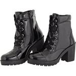 Coturno feminino tratorado CRshoes verniz preto