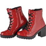 Coturno feminino tratorado CRshoes verniz vermelho