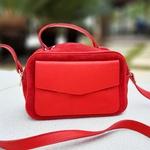 Bolsa Couro Estilo Prada Vermelha