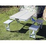 Mesa Dobrável Em Aluminio Camping Tipo Maleta Com 4 Banquetas