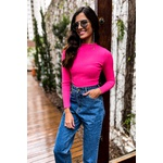 Blusa manga longa neon rosa vida bela