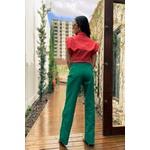 Calça wide leg verde bandeira alcance jeans