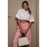 Calça sarja rosa vida bela