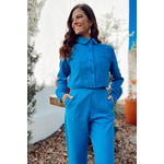 Jaqueta linho azul vida bela