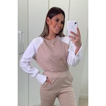 Blusa Bege Camila Manga Branca