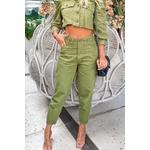 Calça alcance jeans cos interno pence verde militar