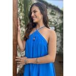 vestido longo azul decote triangulo vida bela