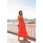 Vestido mídi lastex laranja vida bela