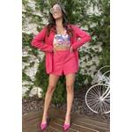 Short linho alfaiataria rosa vida bela