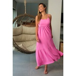 Vestido midi rosa vida bela