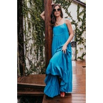 Vestido Longo Viscose Saia Babados Azul Escuro