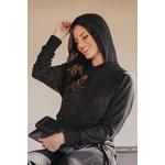 Conjunto Black Blusa com Capuz Fio De Brilho e Calça Moletom