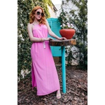 Vestido Longuete Liso Neon Rosa