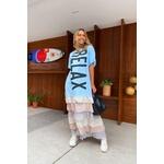 Vestido Salgunamu Longo Relax Azul