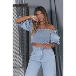 Cropped Alcance jeans Lastex claro
