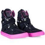 Tenis Sneaker Feminino Preto Pink Cano Alto