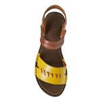 Rasteira em Couro Amarelo / Whisky