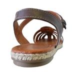 Sandália Avarca em Couro Chocolate / Areia