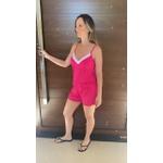 Pijama Curto de Alça Pink Poá
