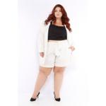 Blazer Linho Listrado Off White - Plus Size