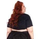 Blusa Cropped Nó Preta - Plus Size