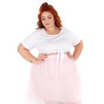 Blusa Cropped Nó Branca - Plus Size