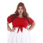 Blusa Cropped Nó Vermelha - Plus Size
