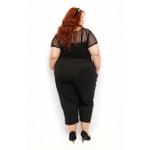 Blusa Listrada Transparência Preta - Plus Size