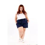 Short Clochard Linho Azul Marinho - Plus Size