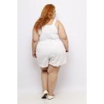Short Clochard Linho Branco Plus Size