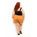 Short Clochard Linho Castanho Plus Size