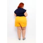 Short Clochard Linho Mostarda Plus Size