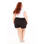 Short Clochard Linho Preto Plus Size