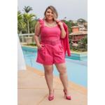 Short Linho Botões Pink - Plus Size