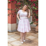 Vestido Gode Algodão Xadrez Rosa Claro - Plus Size